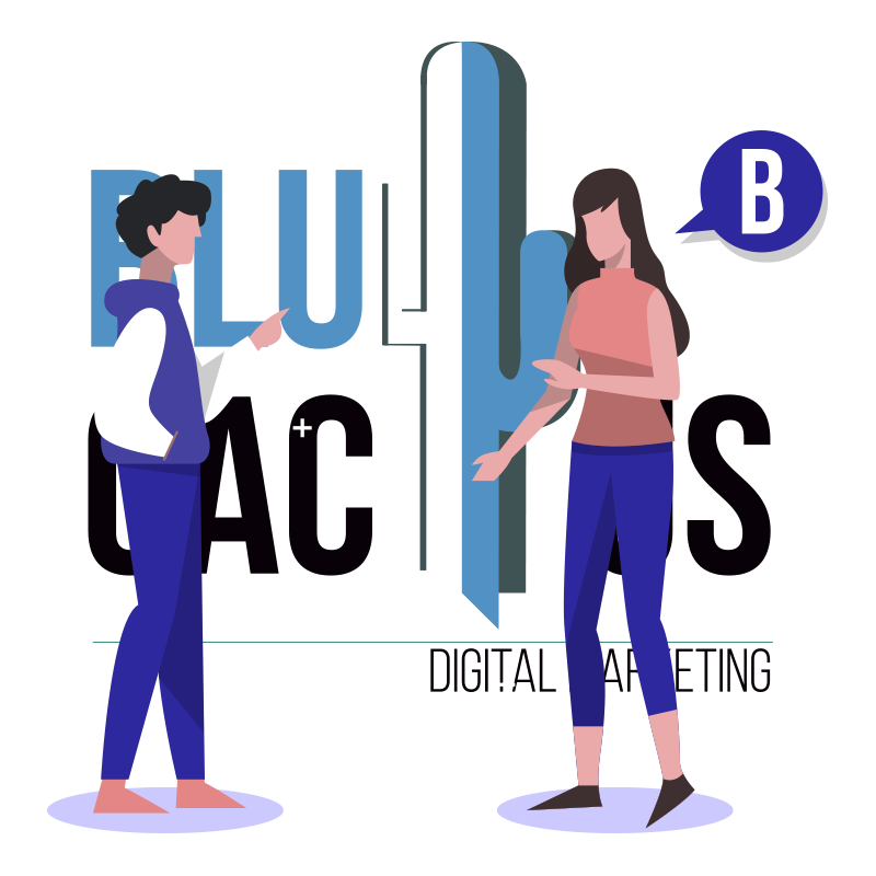 BluCactus - Two people talking to each other about Graphic Design in front of the BluCactus Logo