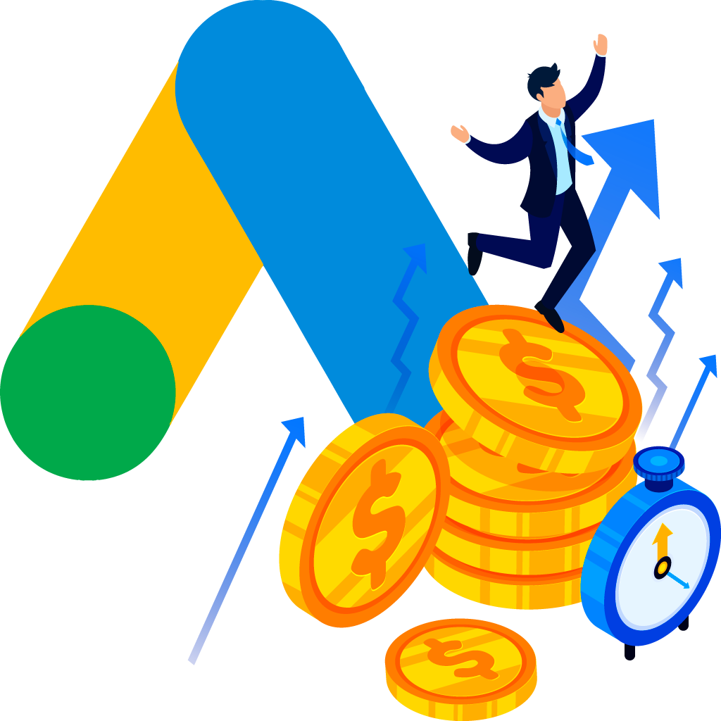 BluCactus Business man dancing on money coins in front of Google Ads Logo