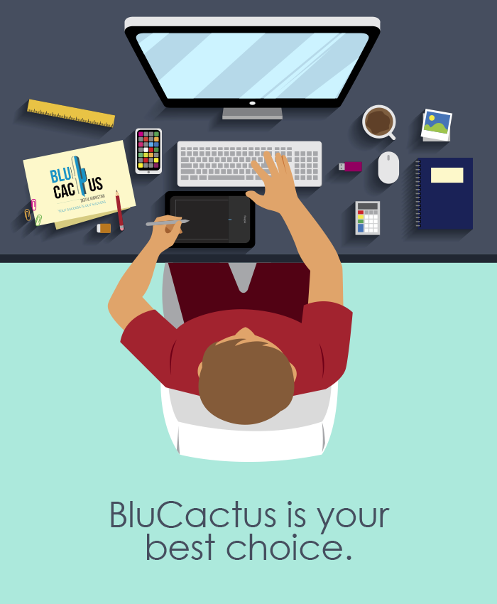 BluCactus - Graphic Designer drawing on his tablet and viewing results on his computer