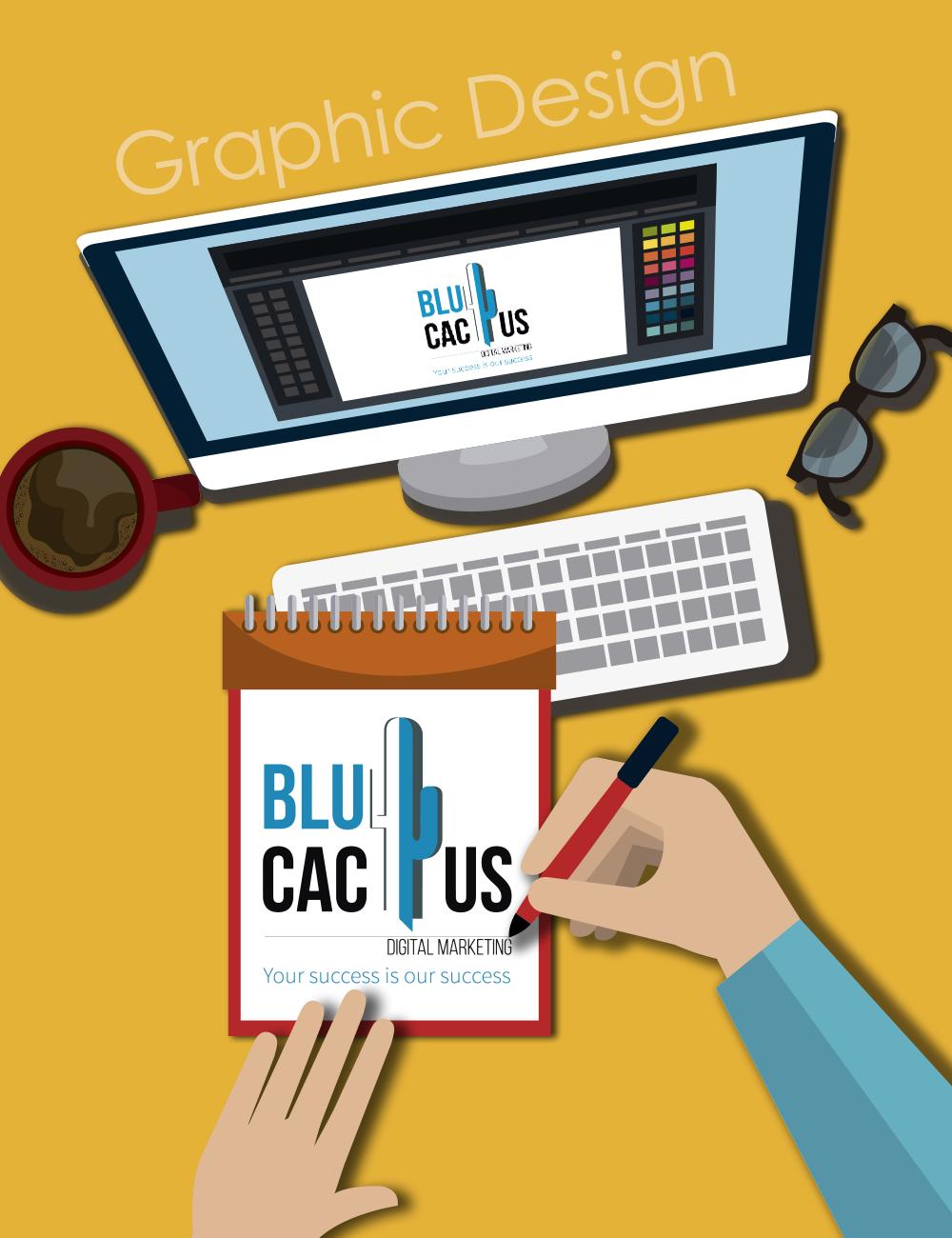 BluCactus - Graphic Designer drawing BluCactus Logo on his sketch book