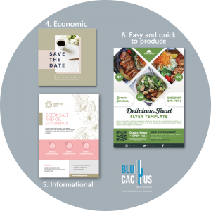 Blucactus - Why brochure advertisement is still useful? - three brochures of food