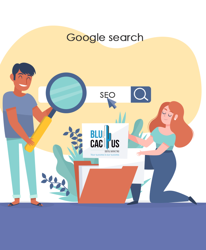 BluCactus - Woman kneeling in front of a Laptop, Man with a magnifier glass searching for keywords