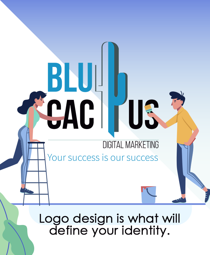 BluCactus - 2 people from a Graphic Design Agecny painting the BluCactus Logo