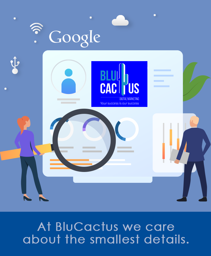 BluCactus - 1 person with a magnifying glass checking SEO on page