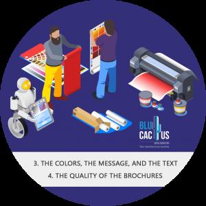 Blucactus - people working in the design of a brochure