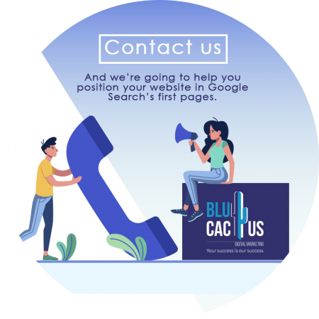 BluCactus - Two people on the phone calling BluCactus for SEO services