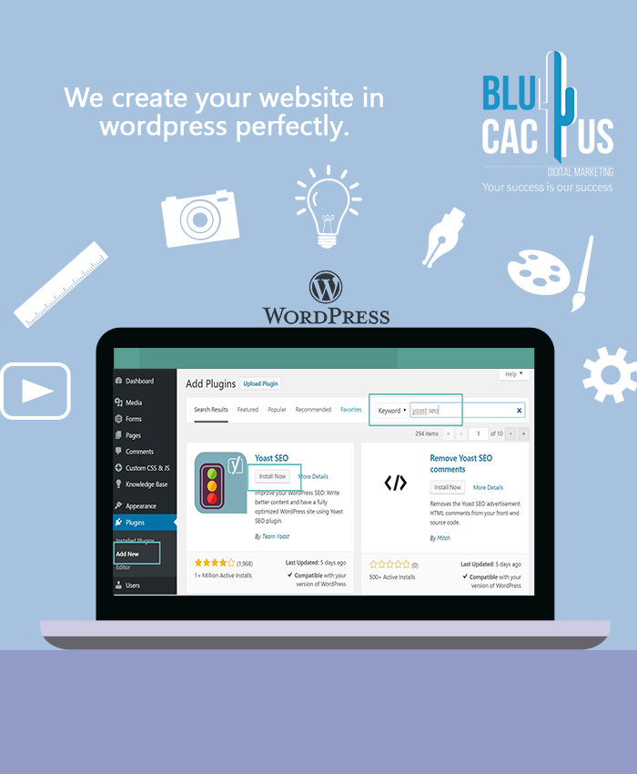 BluCactus - Computer screen with WordPress application open and Yoast SEO plugin