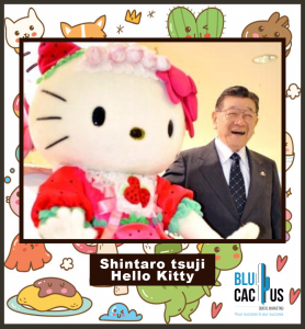 BluCactus - hello kitty with his creator shintaro tsuji