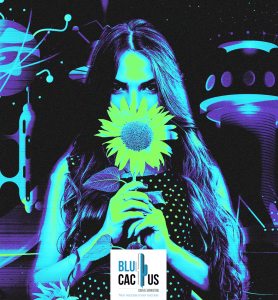 BluCactus - graphic design Trends in 2020 - girl with a sunflower with a cyber punk background