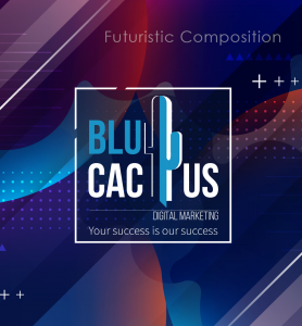 BluCactus - logo with a futuristic composition effect