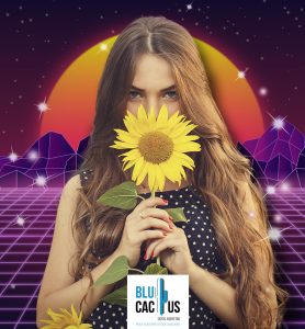 BluCactus - Girl with long hair smelling a sunflower with a futuristic design