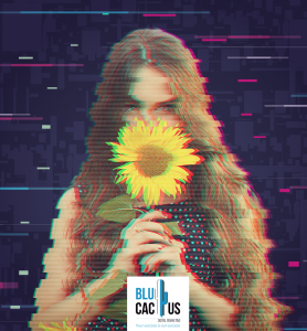 BluCactus - 18 incredible graphic design Trends in 2020 - blucactus logo with the glitch effect and a girl holding a sunflower