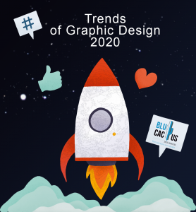 BluCactus - graphic design Trends in 2020 - red rocket with a black background