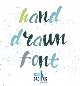 BluCactus - hand drawn font with green and blue color on int