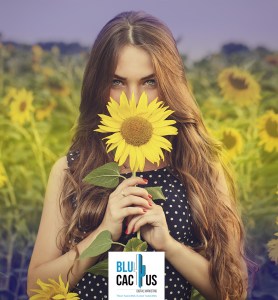 BluCactus - 18 incredible graphic design Trends in 2020 - girl with a sunflower with an editing effect