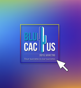 BluCactus -logo with a colorful background on it