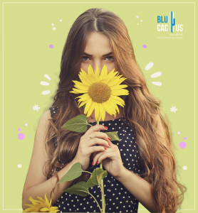 BluCactus - graphic design Trends in 2020 - girl with a sunflower and a green background