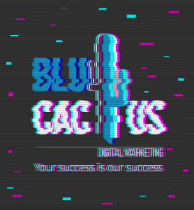 BluCactus - 18 incredible graphic design Trends in 2020 - blucactus logo with a glitch effect