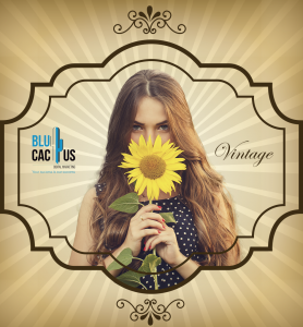 BluCactus - image with the vintage effect on it and a girl smelling a sunflower