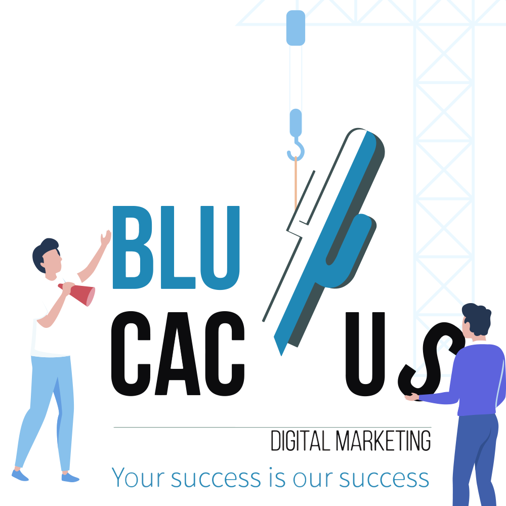 Blue Cactus - A crane is keeping the BluCactus logo in place. Two Marketing Specialists are helping out.