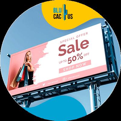 BluCactus - Marketing strategies for fashion brands - a billboard with 50% sale billboard