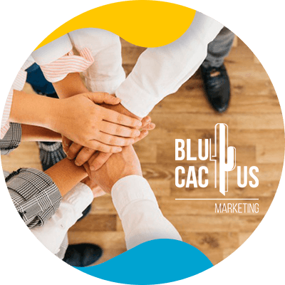 BluCactus - Marketing strategies for fashion brands - persons holding hands with the blucactus logo on the background