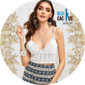 BluCactus - fashion trends for 2020 - model with a bralett of crochet color white