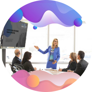 BluCactus - Types of PowerPoint Presentations - woman giving a meeting to other people