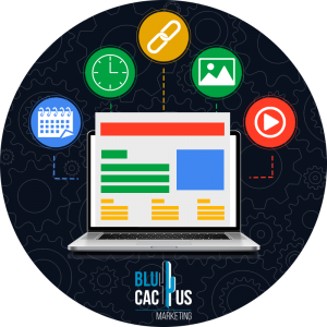 BluCactus-What-is-seo-positioning- SEO-and-Search-Engines on a computer with symbols around it