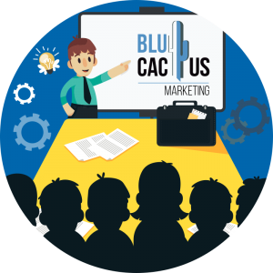 BluCactus - What is a presentation? - a men giving a conference to a bunch of people