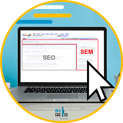 BluCactus - Differences between SEM and SEO - computer with importante information of seo on it
