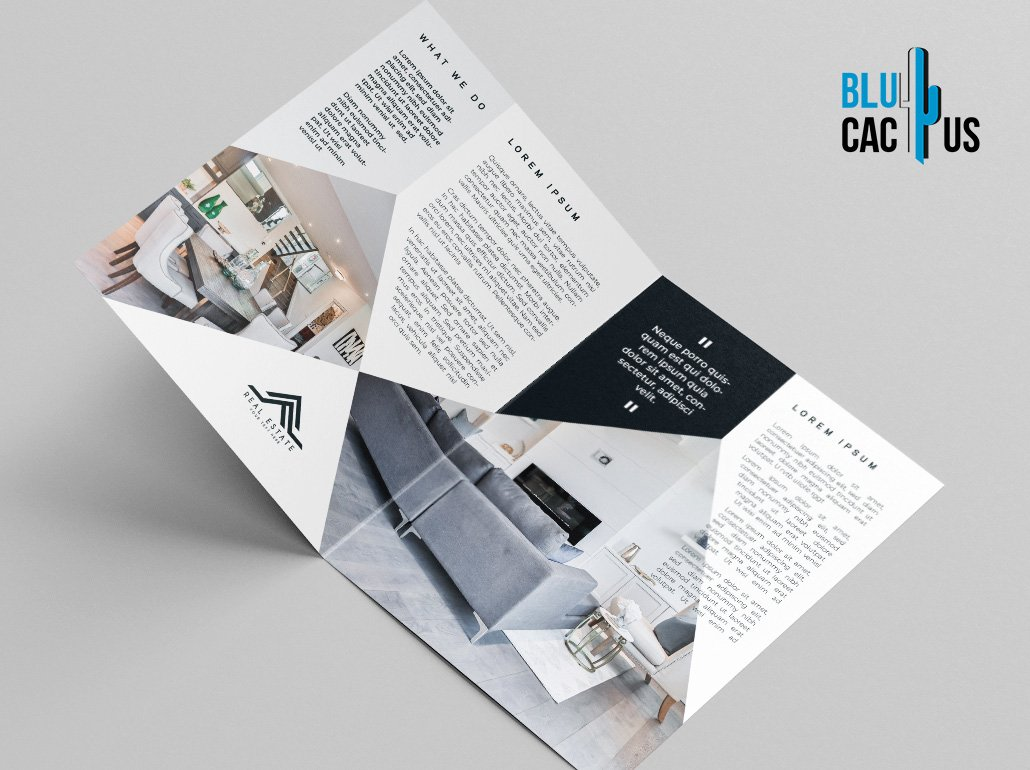 BluCactus Brochure Template Bifold Luxury Real Estate Preview from the left