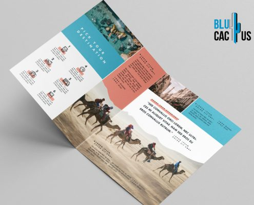 BluCactus Brochure Template Bifold Tourism Preview from the side