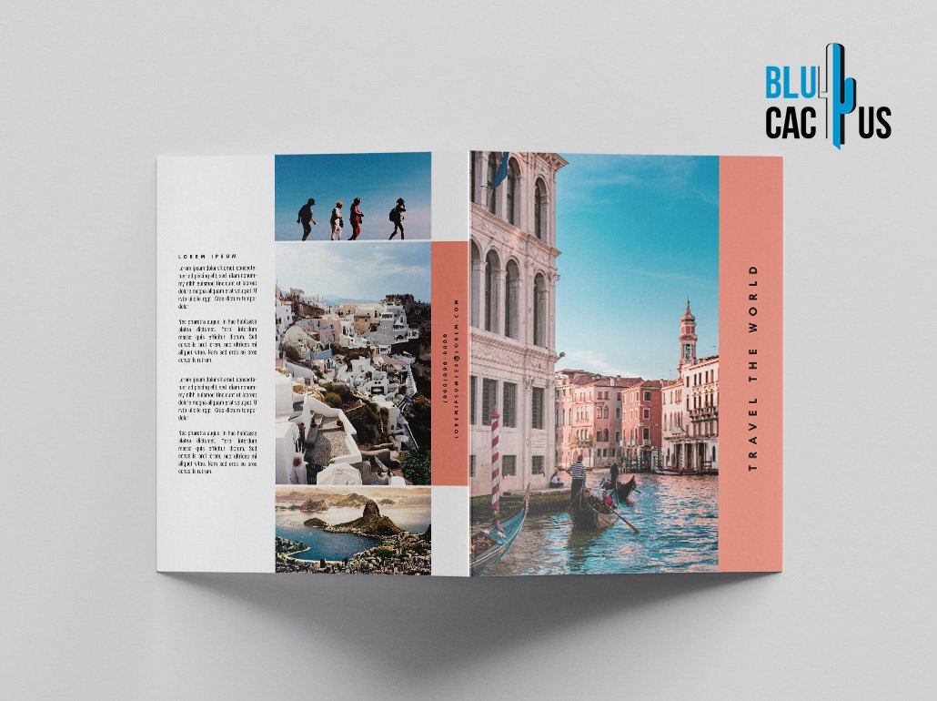 BluCactus Brochure Template Bifold Tourism Preview Front