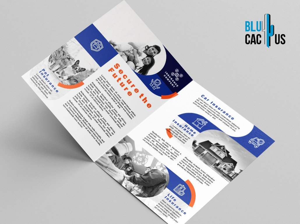 BluCactus - Insurance Brochure Template Bifold Preview Mockup