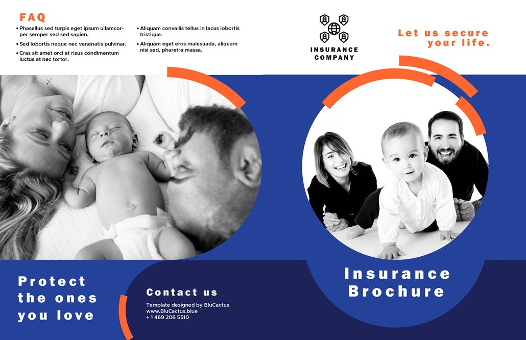 BluCactus - Insurance Brochure Template Bifold Preview Front and Back