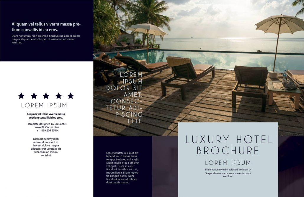 BluCactus Luxury Hotel Brochure Template Bifold Preview Cover and Back