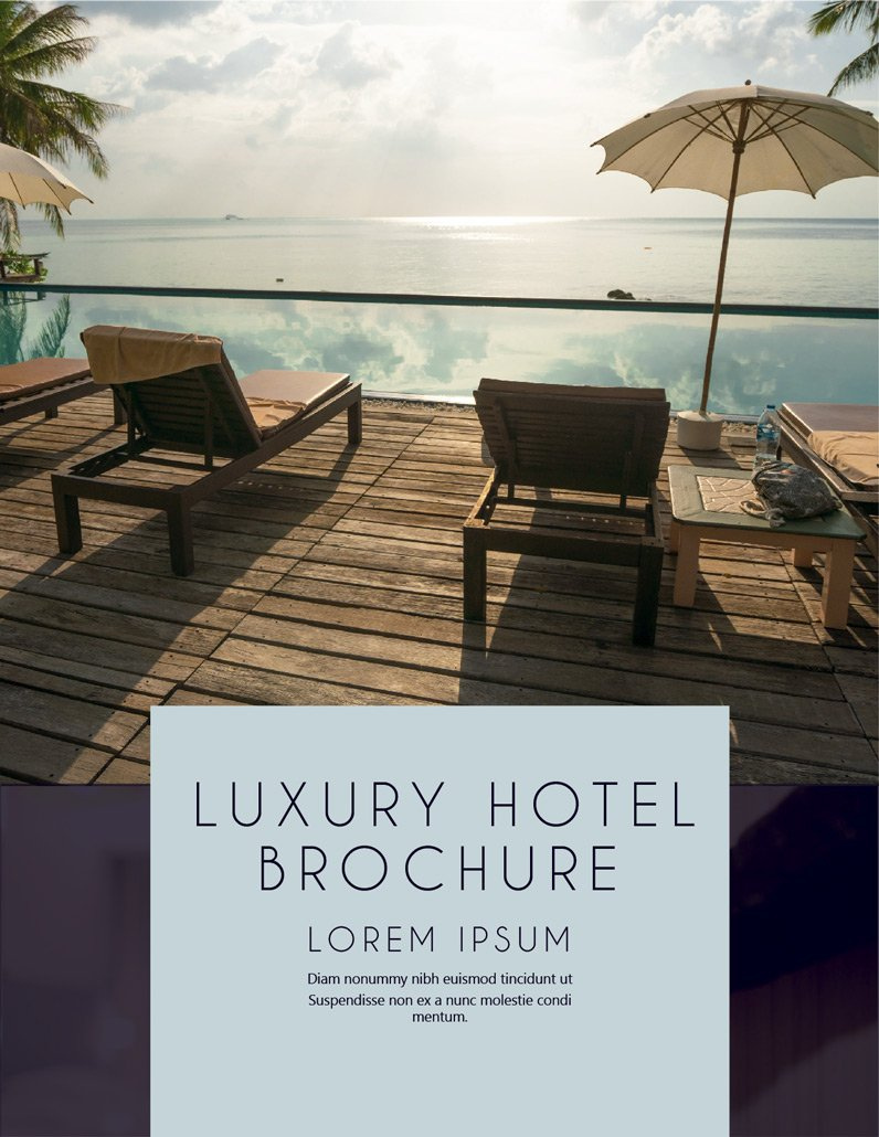BluCactus Luxury Hotel Brochure Template Bifold Preview Cover