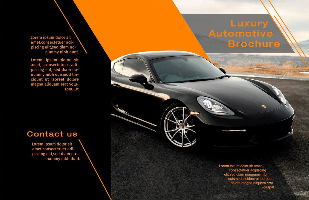 BluCactus - Luxury Automotive Brochure Template Bifold Sales Preview Front and Back