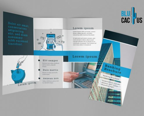 BluCactus Commercial Banking Brochure Template Trifold Mockup