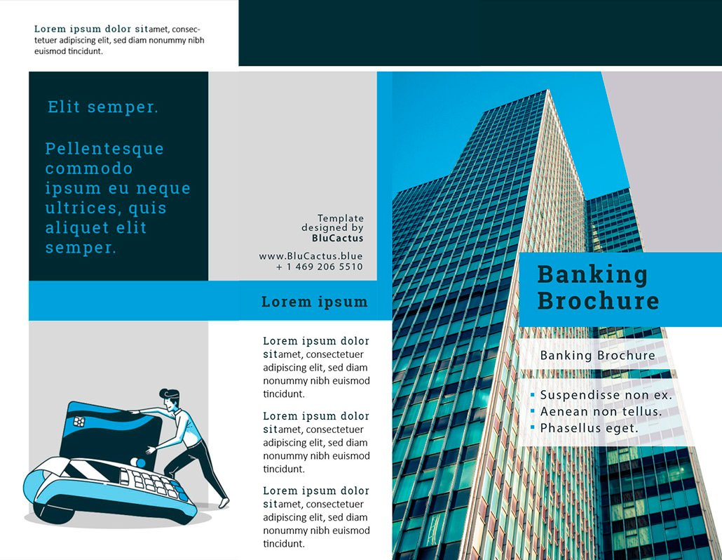 BluCactus Commercial Banking Brochure Template Trifold Preview front and back