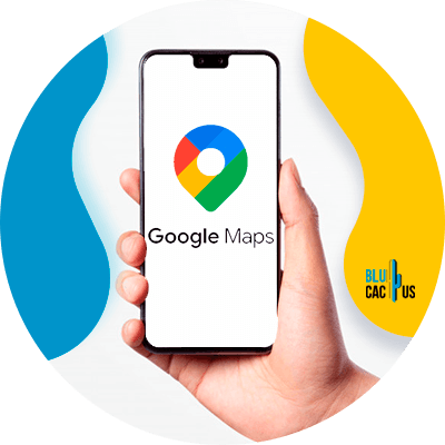 BluCactus - google my business features - Device with the google map