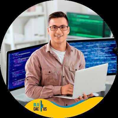Blucactus - Pros of LCMS - A man using a laptop