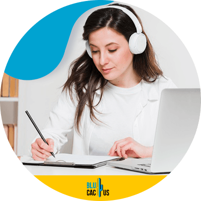 Blucactus - Unlimited Access to Courses - A woman using headphones and a laptop