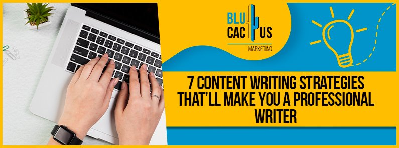 Blucactus - 7 content writing strategies that'll make you a professional writer banner